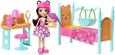 Enchantimals FRH46 Dreamy Bedroom Playset with Bren Bear Doll and Snore Figure,
