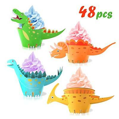 Dinosaur Cupcake Wrappers Toppers48Pack,Howaf Little Dino Cupcake Toppers Cake