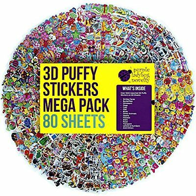 80 Different Sheets Puffy Childrens Stickers Mega Variety Pack by Purple Ladybug