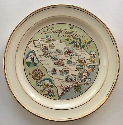 South Carolina Souvenir Map plate decorative 9 inch