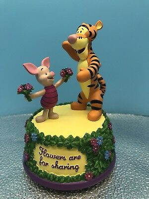 """Disney Tigger And Piglet """"Flowers For Sharing"""" Musical Resin Figurine By West"""