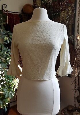 1950s Vintage Ivory Lace Top Shirt Button Back Flounce Sleeves Excellent
