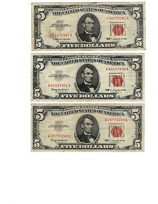 (3) $5.00 ✯ Red Seal Lot ✯ 1963 ✯ star note included ✯  Old Currency Lot of 3✯