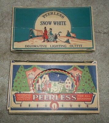 Lot Of 2 Peerless Antique Christmas Decorative Lighting Outfit ~ Snow White