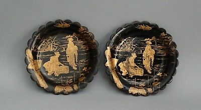 Antique English Pair Gilt Papier Mache Wine Coasters Trays Chinoiserie
