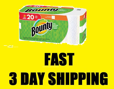 Bounty Full Sheet Paper Towels, White, 8 Huge Rolls NO TAX, FAST 3 DAY SHIPPING!