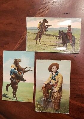 """Trio Vintage Postcards  """"A Pitching Bronco"""" """"A High Flyer"""" """"Cow Boy"""" 1909"""