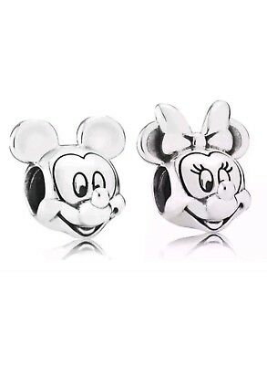 mickey and Minnie Mouse Charms. stamped S925  Disney. In Pandora gift pouch