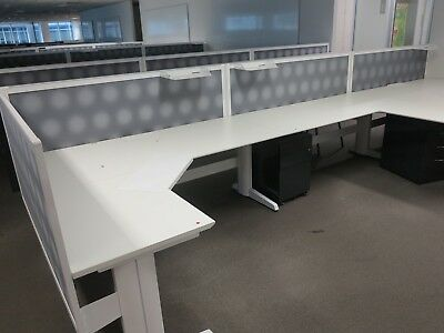 office workstation - desk with screens, mobile ped, min 2 no . 72 available