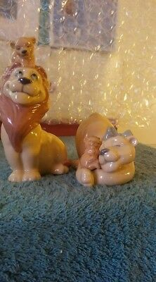 Lladro/nao--2 Figurines Total, 1496 And 1497, Lion & Lioness W/baby Lion, Mint!