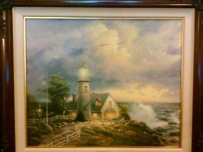 Thomas Kinkade A Light In The Storm S/N canvas w/COA
