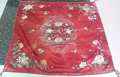 "Antique Chinese Qing Dynasty Hand Embroidered Silk Size 41"" X 44(Cm105x112)"