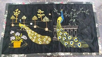"""Antique Chinese Qing Dynasty hand embroidered silk size 21""""x37""""(cm54x94) good"""
