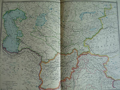 1900/1908 antique map CENTRAL ASIA  HAMSWORTH UNIVERSAL