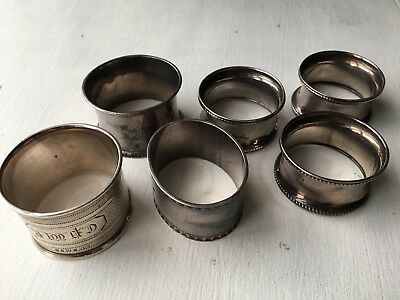 Collection Of Six 6 Antique Solid Sterling Silver Napkin Serviette Rings 130g