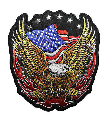 American Flag Bald Eagle Embroidered iron On Patch - Biker Patriotic 002