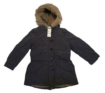 Benetton Girls Lovely Winter Warm Parker Coat Fully Sherpa Fleece Lined Age: 7/8