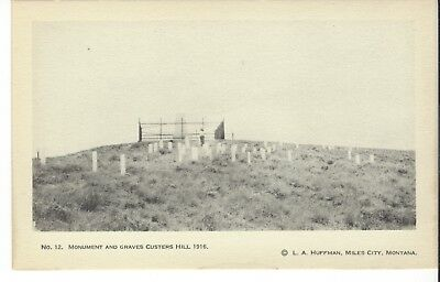 Postcard Rppc L A Huffman Photo No. 12 Monument And Graves Custer's Hill 1916
