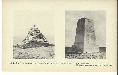 Postcard Rppc L A Huffman Photo No. 2 Firest Monument On Custer's Hill 1877