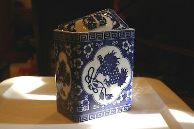 Chinese Blue and White Jar with Lid with Flowers and Fu Dog