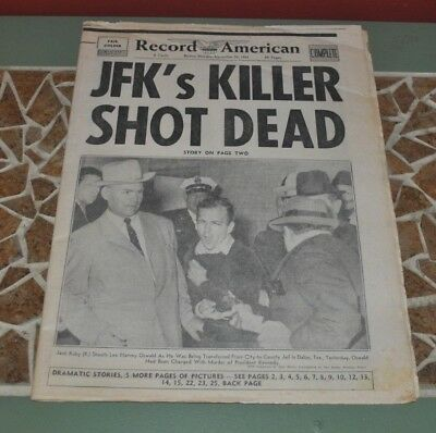November 25, 1963 Boston Record American Newspaper JFK'S KILLER SHOT DEAD Oswald