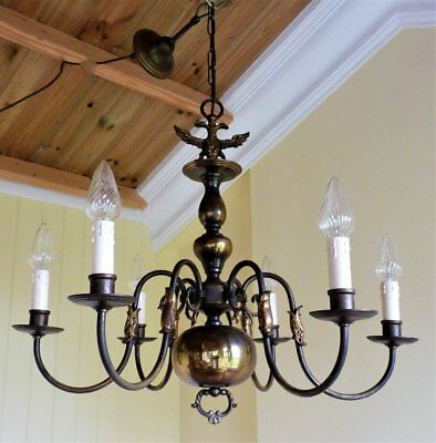 Antique Vintage Brass Flemish Chandelier 6 arm ceiling light French Shabby Chic