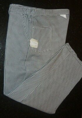"NEW - Chef Designs - Checkered Chef Pant - Zip Fly + Elastic Sides 48""W - 36""L"
