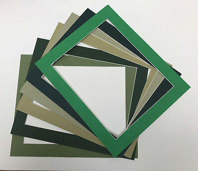 Pack of 5 Green Picture/Phtograph Mounts-Whitecore-Various shades and sizes