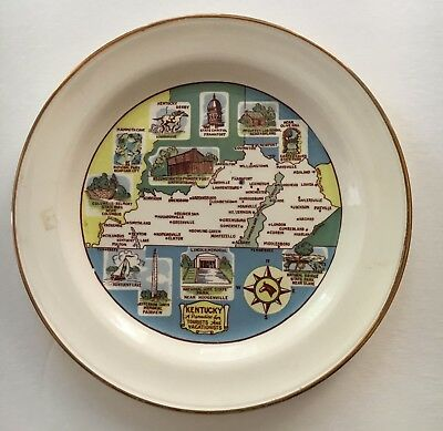 Kentucky Souvenir and collectable State Map plate 9 inch