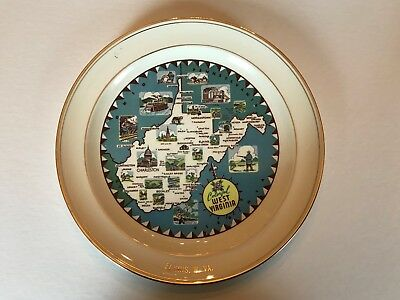 West Virginia Souvenir State Map collectible plate 9 inch