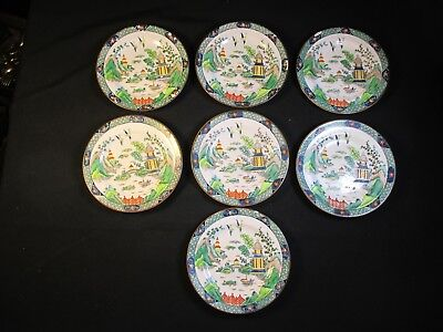 """7 Crown Staffordshire Ye Olde Chinese Willow 7 1/4"""" Plates Tiffany Hand Painted"""