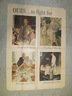 "Original World War 2 Poster Norman Rockwell ""Ours To Fight For"""