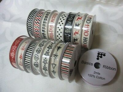 15 Rolls Of ''francheville 100% Cotton Xmas Reels All 2 Metres Long Bnwot '