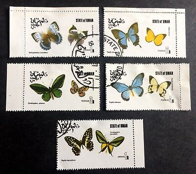 """5 nice stamps butterflies """"State of Oman"""""""