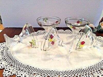 DISHES DESSERT VICTORIAN  5 Hand blown hand painted enamel, Delicate and fine