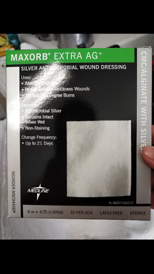 """MEDLINE MAXORB EXTRA AG 4""""x 4.75"""" SILVER ANTIMICROBIAL WOUND DRESSING BOX OF 10"""
