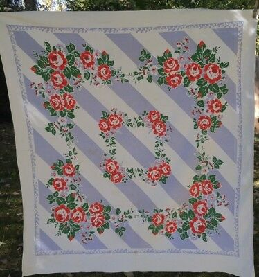 Vintage Fiatelle Textured Tablecloth Periwinkle White Stripe Red Roses Greenery
