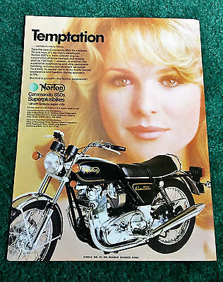 Orig 1974 Norton Pin-Up Motorcycle Magazine Ad Commando 850 T-Shirt? Poster?