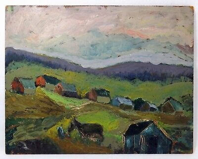 Early 20Th C American Unframed O/b Landscape, W/hills/fig/donkey/village/houses