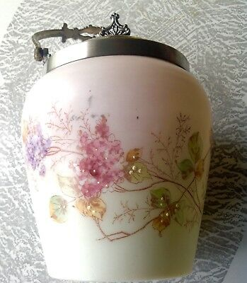 Wavecrest Glass Biscuit Jar Ombré Hand Painted Silver Plate Floral Handle