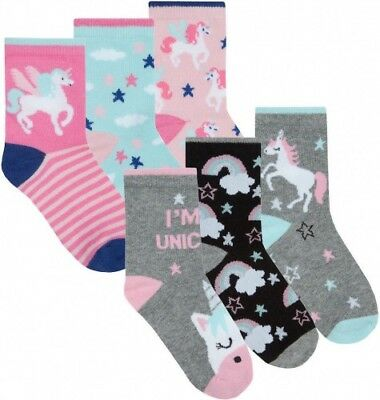 3 Pairs Girls Novelty Unicorn Character Soft Cotton Rich Ankle Socks Kids Gift
