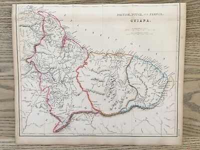 1859 The Guianas South America Hand Coloured Antique Map By W.g. Blackie