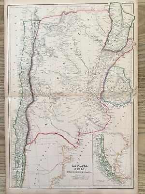 1859 Argentina & Chile Hand Coloured Antique Map By W.g. Blackie