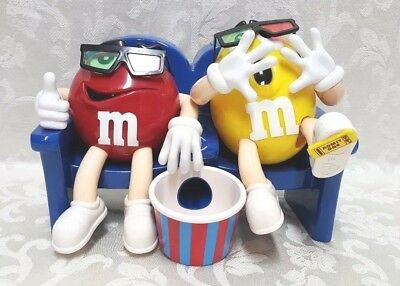 M&M Movies 3D Glasses Candy Dispenser Red Yellow Blue Refillable MARS INC EUC