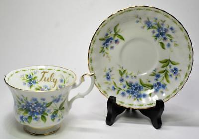 Vntg ROYAL ALBERT England Flowers of Month FORGET ME NOT JULY Set Cup & Saucer