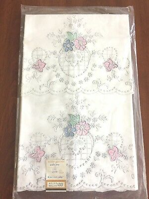 Vintage Pillowcases Cotton Embroidery Applique Floral Pink,Green,Blue Old Store