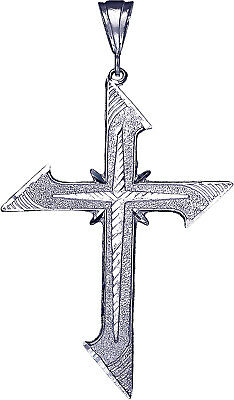 """Large 3.3"""" Sterling Silver Cross without Jesus Pendant Necklace 24"""" Figaro Chain"""