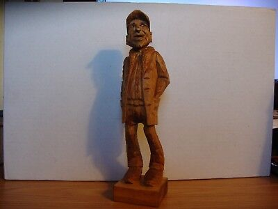 Hand Carved Wood, American Folk Art, Man in His Golden Years by F. Claeys