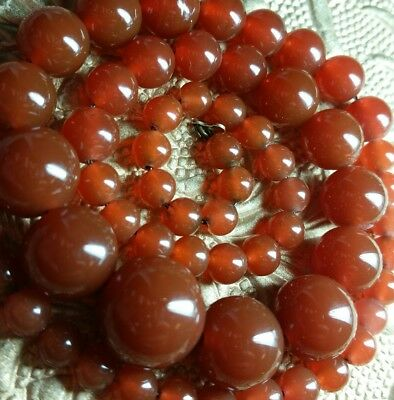 Antique Art Deco Cherry Red Carnelian Glass Graduated Bead Gold Filled Necklace