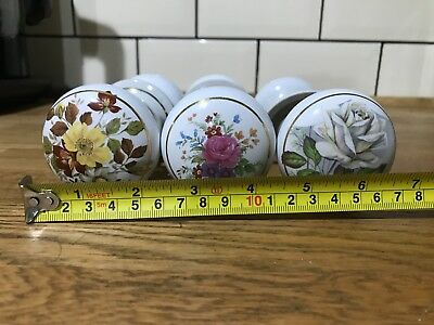 Antique Ceramic & Brass Door Knobs Hand-Painted Architectural Salvage x 6